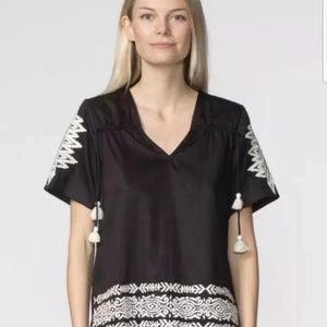 Anthropologie Pepin Black White Embroidered Top
